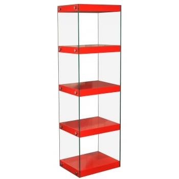 Mfs furniture Moda red 5 tier large gloss and glass shelf unit
