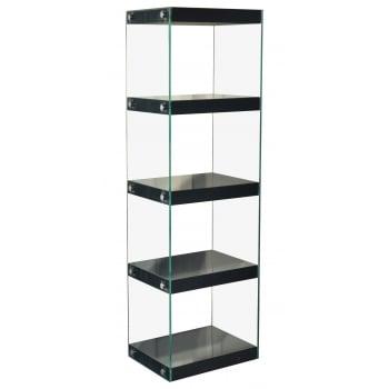 Mfs furniture Moda black 5 tier large gloss and glass shelf unit