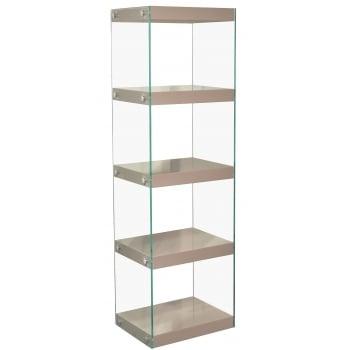 Mfs furniture Moda mink grey 5 tier large gloss and glass shelf unit