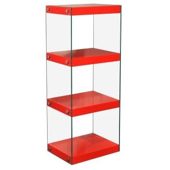 Mfs furniture Moda red 4 tier medium gloss and glass shelf unit