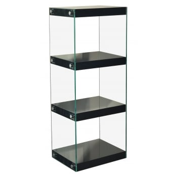 Mfs furniture Moda black 4 tier medium gloss and glass shelf unit