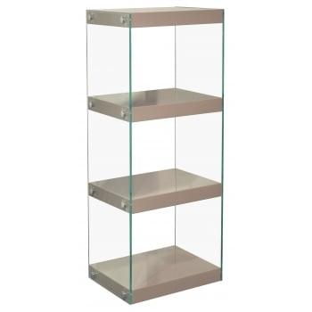 Mfs furniture Moda mink grey 4 tier medium gloss and glass shelf unit