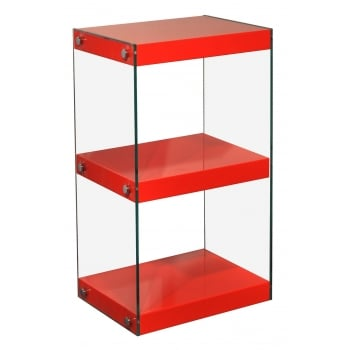 Mfs furniture Moda red 3 tier small gloss and glass shelf unit