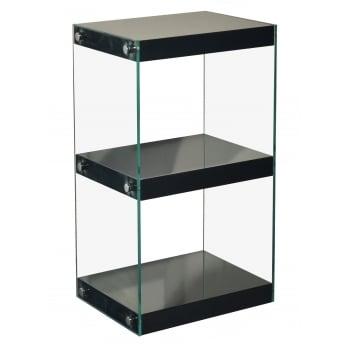 Mfs furniture Moda black 3 tier small gloss and glass shelf unit