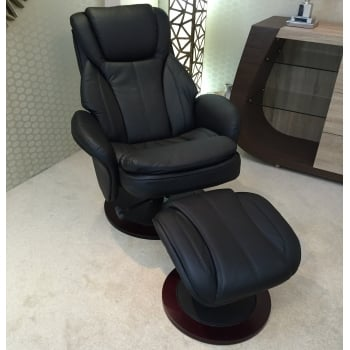 Fairmont furniture Paris black leather swivel recliner and footstool