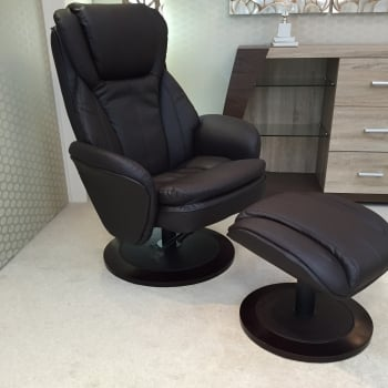 Fairmont furniture Paris brown leather swivel recliner and footstool