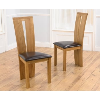 Mark harris arizona solid oak dining chair (pair)