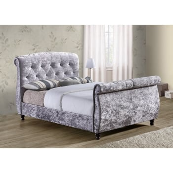 Birlea Toulouse grey crushed velvet fabric sleigh bed
