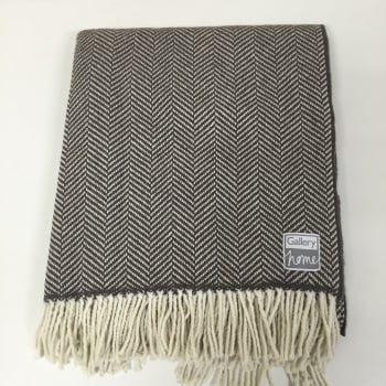 Gallery direct Herringbone grey pure wool throw