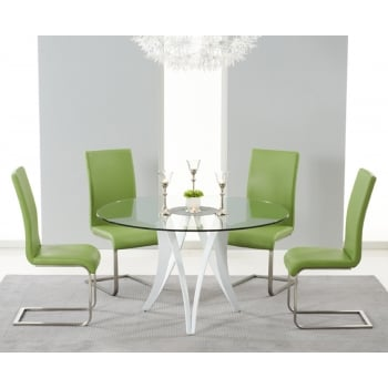 Mark harris Bellevue round 130cm glass dining table and 4 malibu chairs green