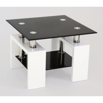 Mfs furniture Metro white and black glass side table