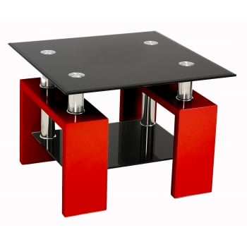 Mfs furniture Metro red and black glass side table