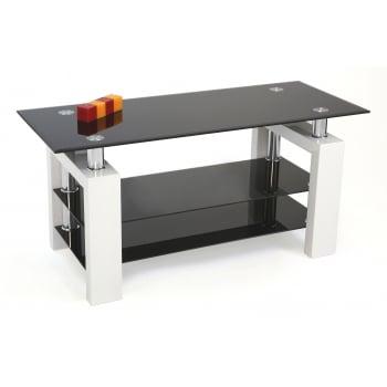 Mfs furniture Metro black and white glass coffee tablke