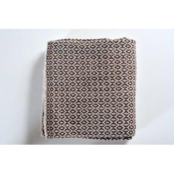 Panache handicraft Cashmere brown diamond geometric woven throw, 138 x 256cm