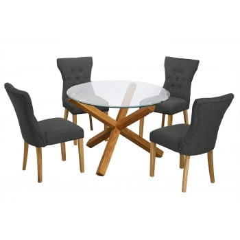 Lpd furniture Oporto oak and glass 106cm round dining table with 4 naples grey fabric chairs