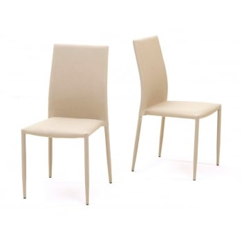 Mark harris Ava beige stackable fabric dining chairs