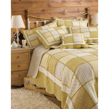 Riva paoletti Honeybee yellow cotton patchwork bedspread