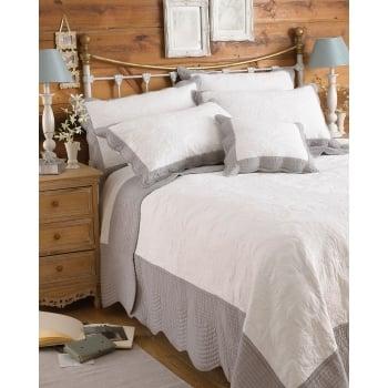 Riva paoletti Fayence white grey embossed cotton bedspread