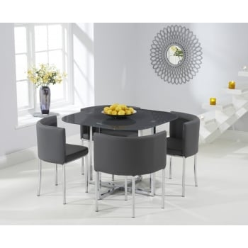 Mark harris Abingdon grey glass stowaway dining set