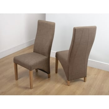 Shankar Baxter linen cinnamon fabric chairs