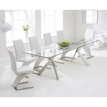Mark harris Palazzo 200cm clear extending dining set with white z chairs