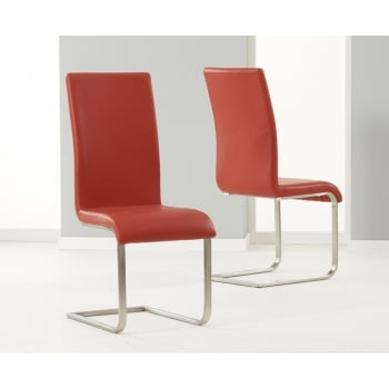 Mark harris Malibu red leather dining chairs pair