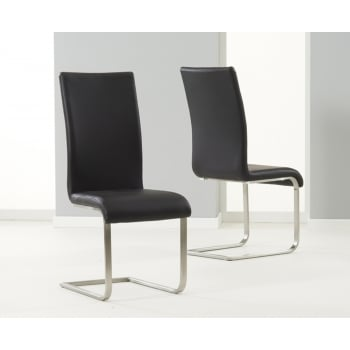Mark harris Malibu black leather dining chairs pair