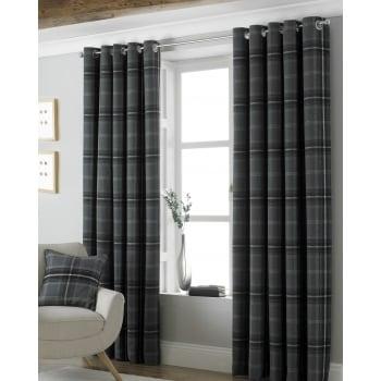 Riva paoletti Aviemore grey tartan check readymade eyelet curtains