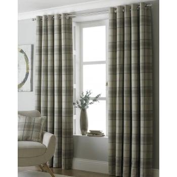 Riva paoletti Aviemore natural tartan check readymade eyelet curtains
