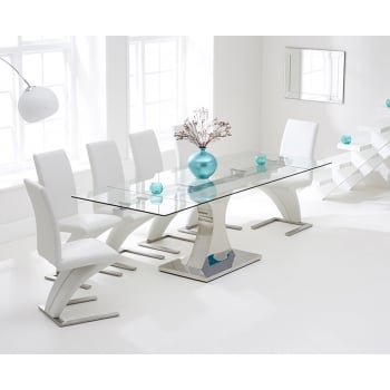 Mark harris Amber clear extending glass table with white z chair