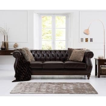 Mark harris Highgrove brown leather 3 seater sofa