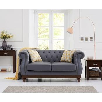 Mark harris Highgrove grey leather 2 seater sofa