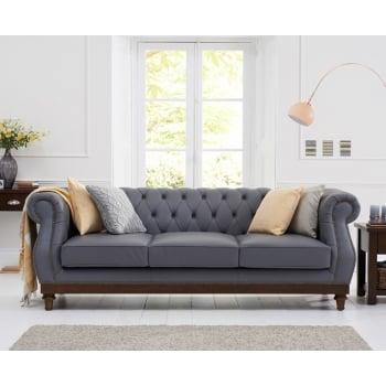 Mark harris Highgrove grey leather 3 seater sofa