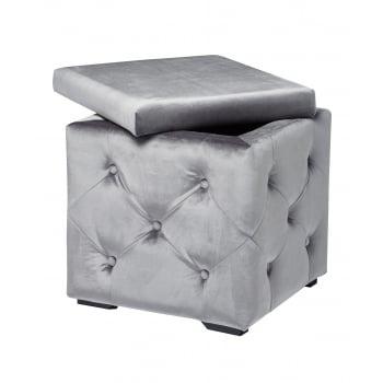 Lpd furniture Valentina silver velvet storage box