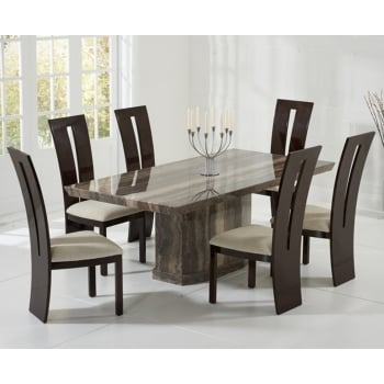 Mark harris Como brown marble 200cm dining table with valencie chairs