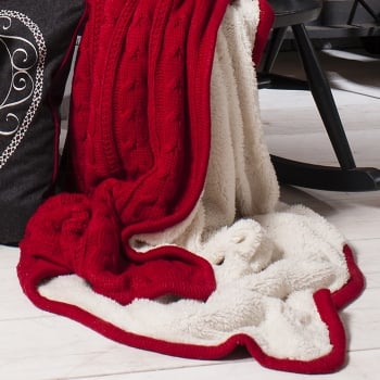 Kilburn and Scott Glencoe red knitted sherpa throw 127 x 170cm