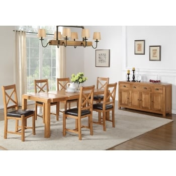 Annaghmore Oakridge 120cm oak extension dining table