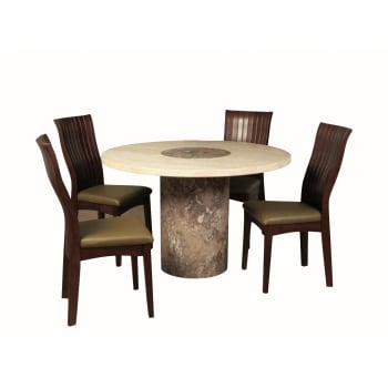 Annaghmore Sorrento marble 120cm round  dining set with vittoria  chair