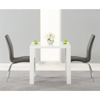 Mark harris Ava 80cm white high gloss dining set with carsen grey chairs