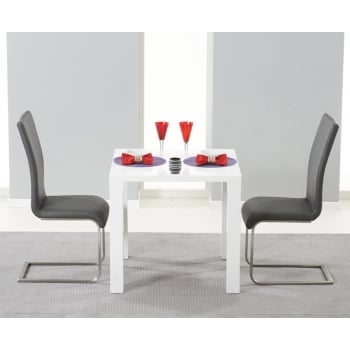 Mark harris Ava 80cm white high gloss dining set with malibu grey chairs