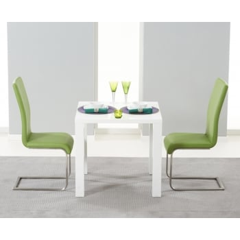 Mark harris Ava 80cm white high gloss dining set with malibu green chairs