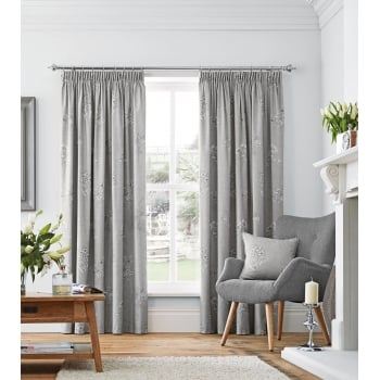 Dreams n drapes Flora grey pencil pleating readymade curtain