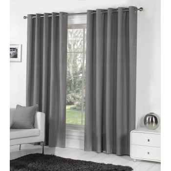 Dreams n drapes Sorbonne charcoal eyelet readymade curtain