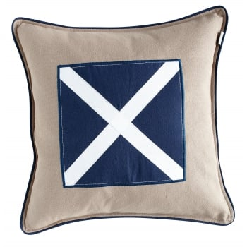 Grand Design Kudde navy twill cross cushion cover, 48cm