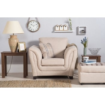 Mason and pearl Stanley beige fabric armchair