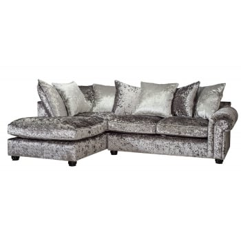 Mason and pearl Madison silver crushed velvet corner sofa, left hand