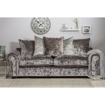 Mason and pearl Madison silver crushed velvet 3 seater