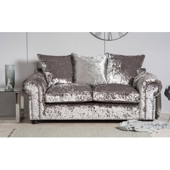 Mason and pearl Madison silver crushed velvet 2 seater