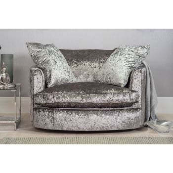 Mason and pearl Madison silver crushed velvet swivel chair
