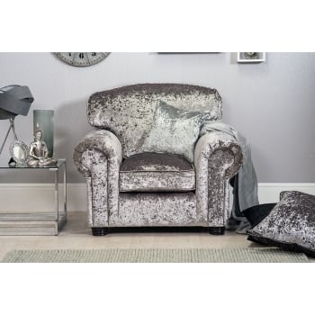 Mason and pearl Madison silver crushed velvet armchair
